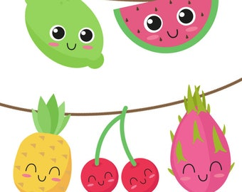 Printable fruit garland - Watermelon, Cherries, Pineapple, Lime & Dragonfruit. Downloadable birthday party decorations