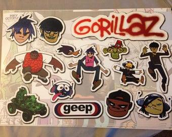 Gorillaz Promo Sticker Sheet - Debut Album Record Store Bag Stuffer - 2001 - ULTRA RARE // super fun!
