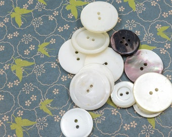 Mixed Lot of Vintage White Buttons Sewing Craft Supply Upcycle Repurpose Jewelry Mother of Pearl Shabby Cottage Decor
