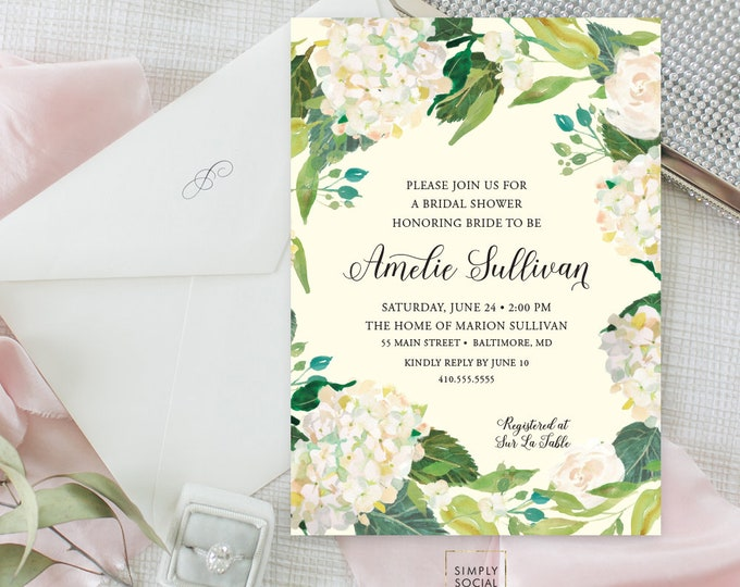 Hydrangea Floral Bridal Shower Invitation - Greenery Personalized Floral Flowers Bridal Shower Modern Calligraphy Printable Party Invite