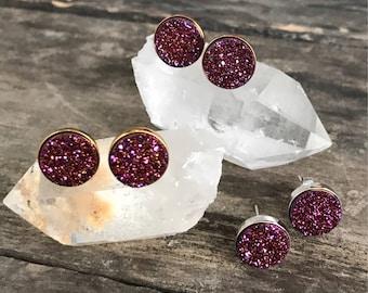 Druzy Earrings, Druzy Stud Earrings, Plum Druzy, Plum Studs, Druzy Quartz Jewelry, Rose Gold Earrings, Gold Earrings, Amethyst