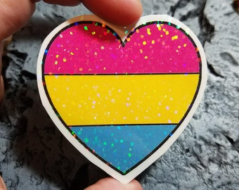 Holographic Sticker - Pansexual heart
