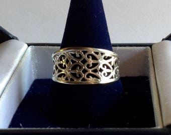 Retro 80s delicate filigree lace work solid sterling silver Ring size 9
