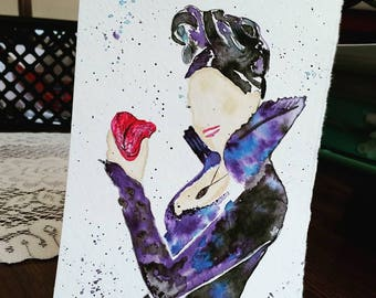 """Once Upon a Time - The Evil Queen - watercolor painting (5""""x7"""")"""