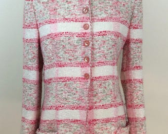Emanuel Ungaro Parallele Paris Pink MixTweed Suit/Spring Tweed Suit/ Pastel Tweed Suit