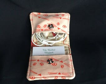 Cat & yarn square business card case/ear bud case