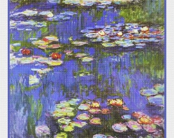 GREAT SALE Digital DOWNLOAD Impressionist Claude Monet's Water Lilies in Bloom #1 detail Counted Cross Stitch Chart / Pattern
