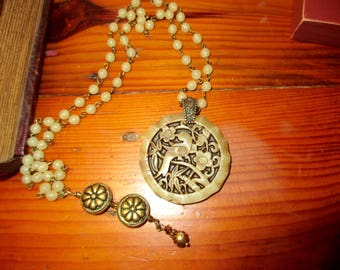 Stunning, Intricate Hand-Carved Vintage Nephrite JADE Pendant: Bird, Flowers, Bamboo Rim on Jade ROSARY Chain w/Brass REPOUSSE Charm/Drop