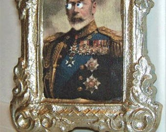 Dollhouse Miniature Victorian Art KING George with CREEPY EYES Halloween Spooky Picture
