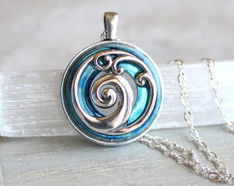 ice blue wave necklace, ocean necklace, wave jewelry, ocean jewelry, beach necklace, beach jewelry, unique gift, womens gift nature necklace