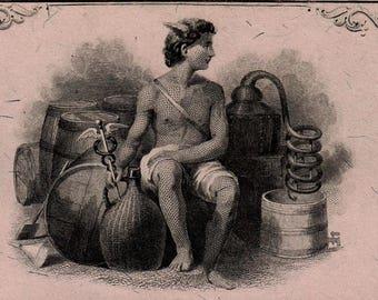 Antique 1876 Moonshine Still Whiskey Dealer Liquor License BAR Brewer Keg Vintage USIR Stamp Distillery Civil War Tax Man Cave Bar