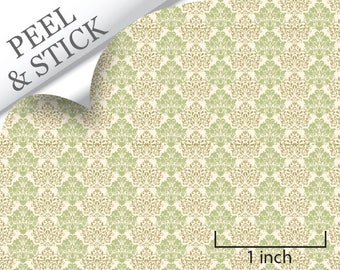 Quarter Scale Wallpaper-Peel and Stick-Mums, Green