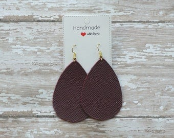 Cranberry Burgundy Saffiano Leather Teardrop Drop Earrings