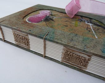 Journal, notebook, A6, coptic, woven spine, exotic flower, handpainted, handmade paper
