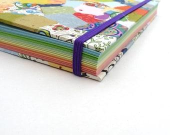 Hippie, notebook, journal, A5, patchwork, handmade paper, book, Coptic, scrap, junk, elastic