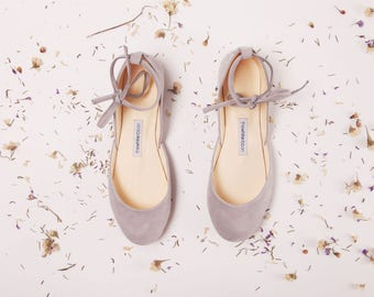 The Light Grey Nubuck Ballet Flats with Leather Ankle Ribbons in Siberian Grey | Made to Order