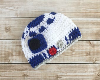 R2D2 Inspired Hat/ R2D2 Costume/ Star Wars Inspired Hat Available in Newborn to Child Size- MADE TO ORDER