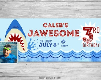 Shark Pool Party Birthday - Custom Facebook Timeline Cover Graphic