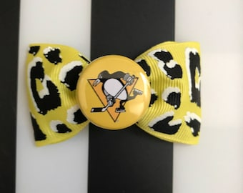 pittsburgh penguins yellow leopard print hair bow