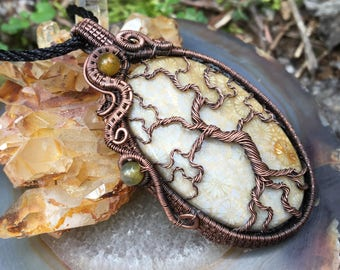 Tree of Dreams -Agatetized Coral Stone & Dragon Vein Agate Beads wrapped with Copper Wire Pendant Necklace