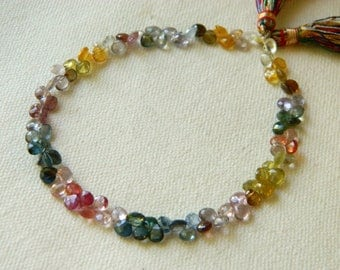 Half strand set of 45 rare beautiful AA-AAA Multi Spinel faceted heart briolettes beads 4mm x 4mm to 5mm x 5mm