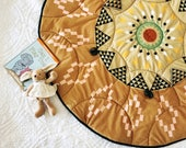 Large baby play mat, padded baby playmat, activity playmat, gender neutral play mat,  round baby play mat, boho nursery playmat