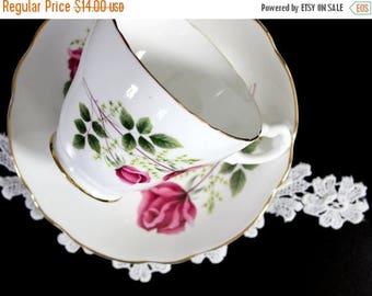 ON SALE Floral Teacup, Tea Cup and Saucer, Royal Ascot. English Bone China Pink Roses Motif 12189