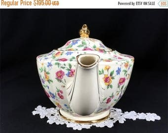 ON SALE James Sadler Chintz Teapot - Shabby Wildflowers, Antique White, Floral Transferware Tea Pot 12955