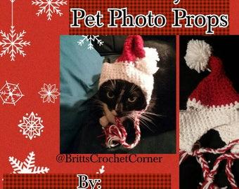 Christmas Holiday Santa Hat Pet Photo Props