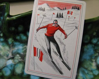 Vintage Mid Century Snow Skier 4 Playing Cards Repurpose for Christmas Gift Tags Place Cards Table Numbers Ski Lodge Cabin Decor Ornaments