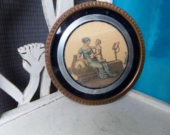 French Antique Round Bronze Picture Frame 1920s