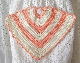 Vintage Pot Holder Hot Pad Pink Crochet Kitchen Pad Vintage 1950s