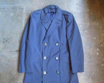 Vtg U.S. Air Force Officer Overcoat Wool Lightweight Gabardine 38 Regular 1960s USAF
