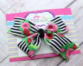 Baby Bows, Toddler Bows, Girls Hair Bows, Hair Clip, Trendy Floral Hair Bow Headband, Floral Black White Stripes Hair Bow, 5 Inch Bow
