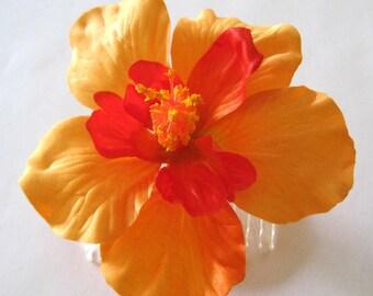 Tropical Orange Tangerine Hibiscus Poly Silk Flower Hair Comb