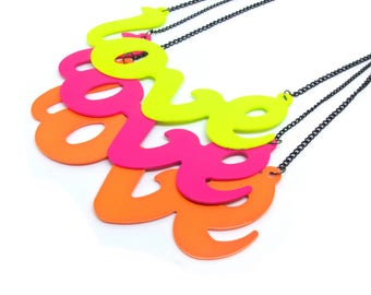 Neon Large Metal LOVE Necklace