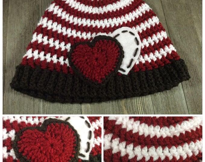 Simple Hearts and Stripes Beanie Cap (Preteens - Teens) ~ Crochet