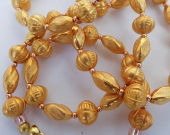 Mixed Shaped Gold Beads Necklace