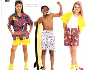 Easy McCall's 2980 Sewing Pattern (Child Size 12 14 ) Boys or Girl's SWIM TRUNKS / SHORTS Learn to Sew For Fun Pattern UNcut