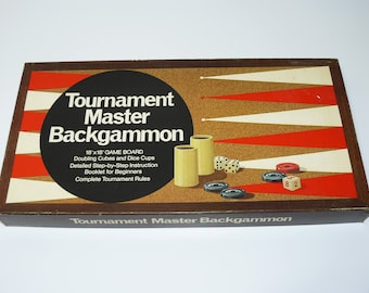 TOURNAMENT MASTER BACKGAMMON Board Game - Vintage Itemation Inc 1970s - Complete