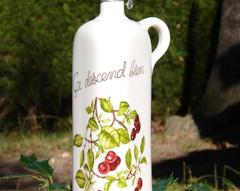 Vintage French Porcelain Bottle - Cerries Pattern - Fruit Jug - Ça Descent Bien - Veritabale Porcelain - Rustic Franch Decor - Shabby Chic