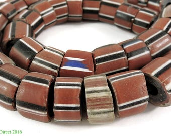 Striped Greenhearts Venetian Trade Beads Africa 107053