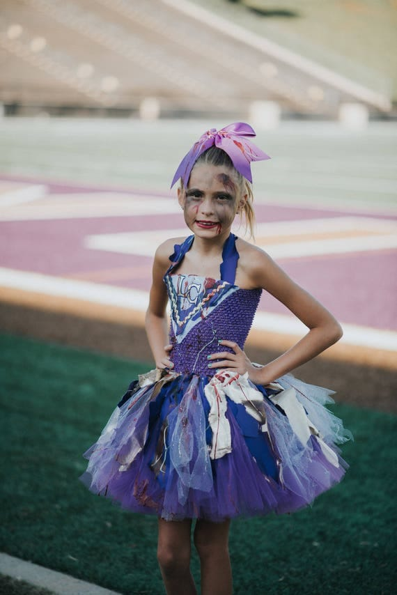 Girls Zombie Cheerleader (ANY TEAM) Tutu Dress Halloween Costume (Newborn - 5T)