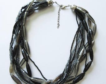 On Sale Smokey Torsade with Glass and Plastic Black and Gray Beads Beaded Jewelry
