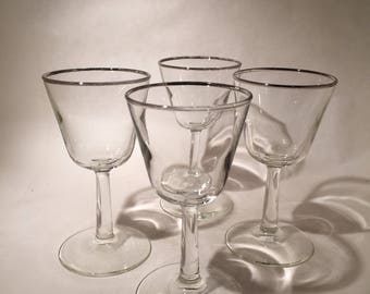 4 Silver Rimmed Cocktail Glasses - Nick & Nora