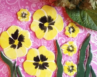 Yellow pansy pansies mosaic tiles embellishments Handmade, hand painted, kiln fired and glazed