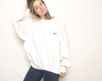 NIKE 90s JUST DO it huge nike swoosh vintage 90s white oversize slouchy sweatshirt top