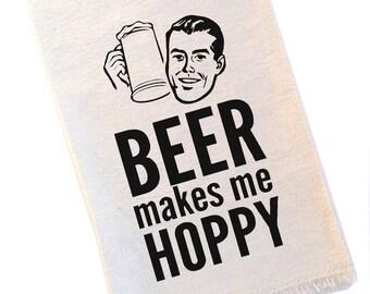 Beer Makes Me Hoppy Bar Towel Craft Beer