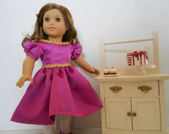 Gala special occasion dress magenta fits 18 in dolls like American Girl and similar