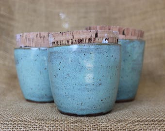 Wheel thrown speckled stoneware cork lid stash jar